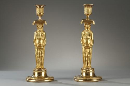 Antiquités - Pair of guilt candelabra, begining of 19 th century