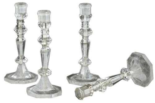 Two pairs of Rock cristal candelabras, France late 19th century, early 20th century