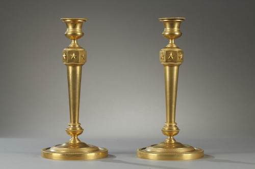 Lighting  - Gilded bronze pair of candelabras . Early 19th century