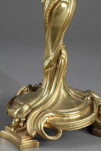 Lighting  - Large pair of candlesticks in bronze. 18th century