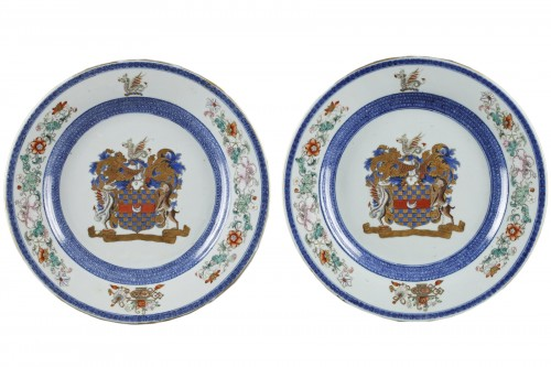 18th century armorial pair of Chinese porcelain dishes