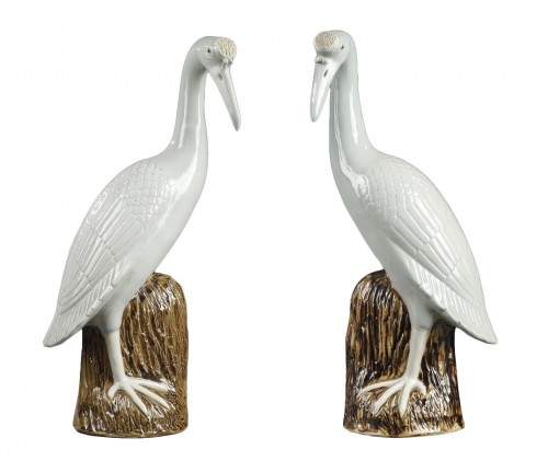 Pair of crown cranes in chinese porcelain, 19th century
