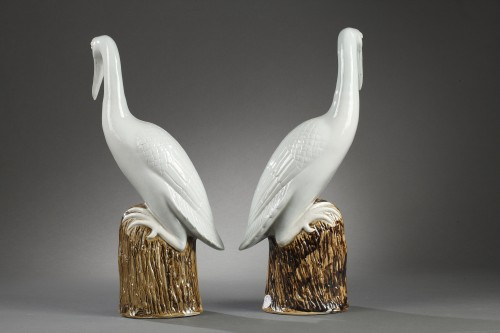 19th century - Pair of crown cranes in chinese porcelain, 19th century