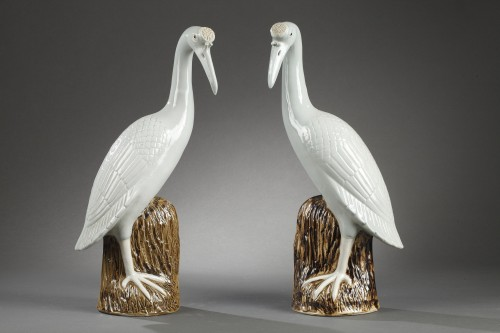 Pair of crown cranes in chinese porcelain, 19th century -