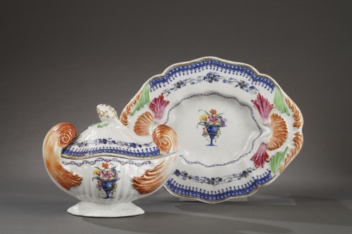 Export ware sauce boat China for Portugese or Brezilian Market 18th cent. - Porcelain & Faience Style
