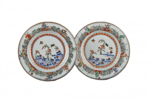 Chinese porcelaine famille verte plates Kangxi period 1662 - 1722