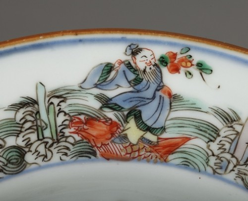 Chinese porcelaine famille verte plates Kangxi period 1662 - 1722 - Porcelain & Faience Style