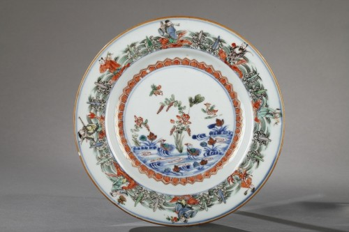 Chinese porcelaine famille verte plates Kangxi period 1662 - 1722 -