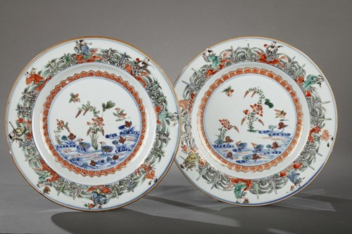 18th century - Chinese porcelaine famille verte plates Kangxi period 1662 - 1722