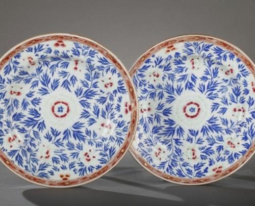 Exportware pair of porcelain plates Yongzheng 1723 - 1735 -