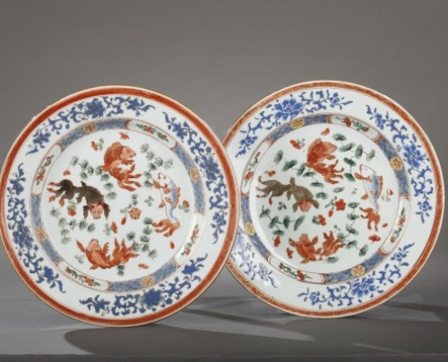 18th century - Exportware pair of Chinese plates Yongzheng period 1723 - 1735