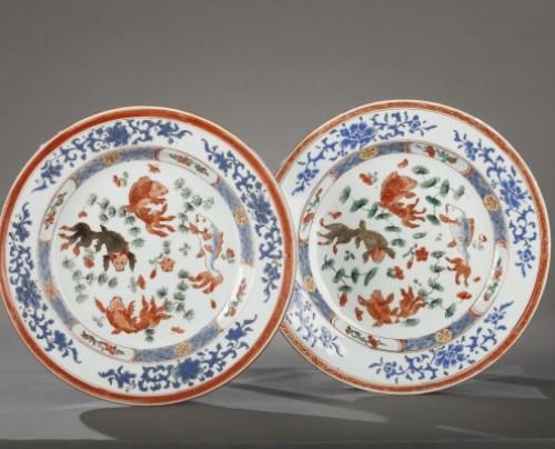 18th century - Exportware pair of Chinese plates Yongzheng period 1723 - 1735