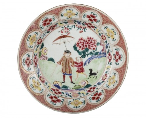 Exportware chinese plate decorated with a Deutch man Yongzheng 1723 - 1735