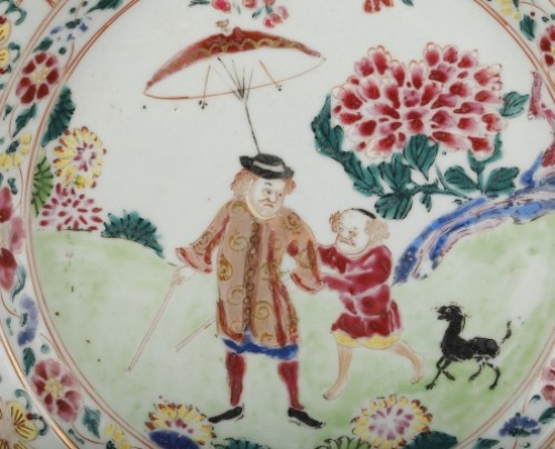 Porcelain & Faience  - Exportware chinese plate decorated with a Deutch man Yongzheng 1723 - 1735