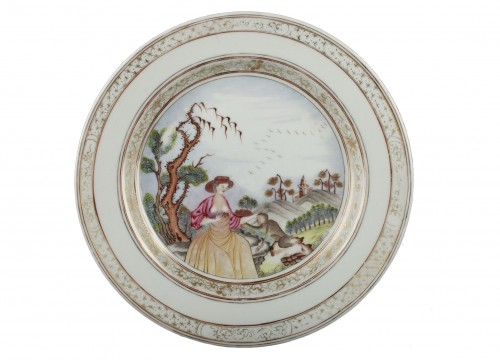 "Very rare Chinese plate depicting a ""erotic"" scene 18th century"
