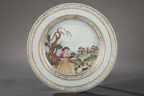 "Porcelain & Faience  - Very rare Chinese plate depicting a ""erotic"" scene 18th century"