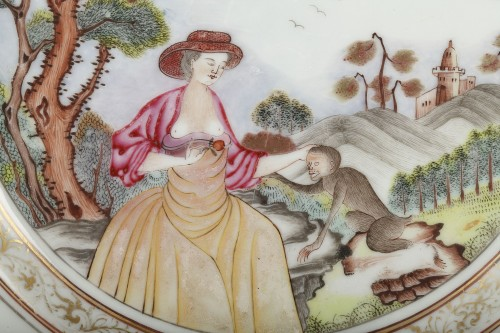 "Very rare Chinese plate depicting a ""erotic"" scene 18th century -"