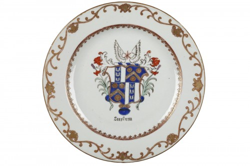 Chinese export english armorial plate. Circa 1765