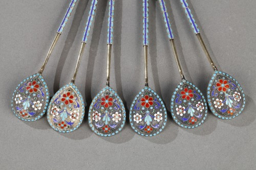 Antique Silver  - Set of six silver coffee spoons  Russia circa 1889