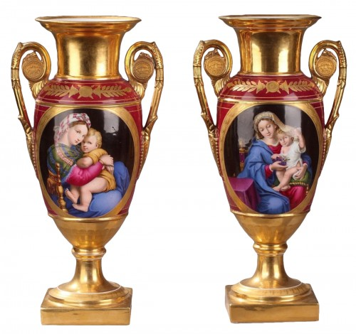 Paris porcelaine pair of vases, Deroche manufacture, early 19th century