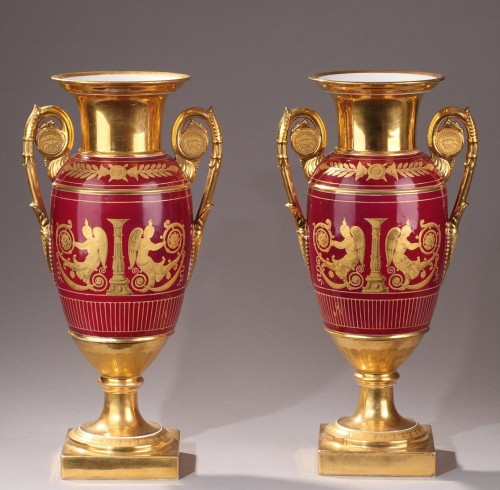 Paris porcelaine pair of vases, Deroche manufacture, early 19th century - Porcelain & Faience Style Empire
