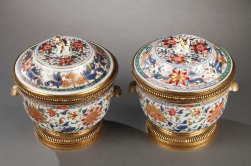 Chinese porcelain terrines with european ormolu Qianlong 1736 - 1795 - Porcelain & Faience Style