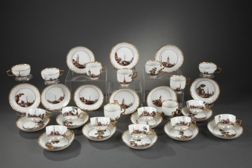 Meissen tea and coffee service (25 pieces) decorated with harbour scenes  - Porcelain & Faience Style Louis XV