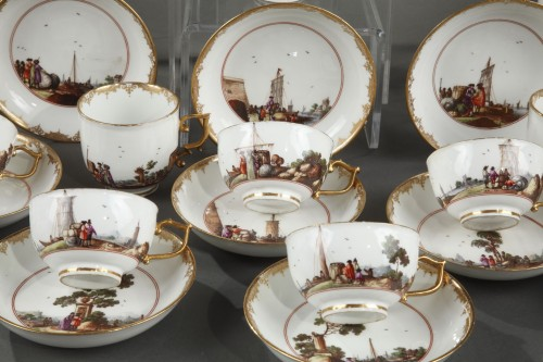 Porcelain & Faience  - Meissen tea and coffee service (25 pieces) decorated with harbour scenes