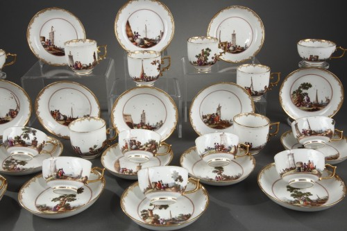 Meissen tea and coffee service (25 pieces) decorated with harbour scenes  -