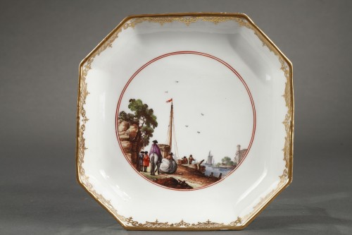 Meissen tea and coffee service (25 pieces) decorated with harbour scenes  - Louis XV