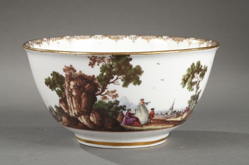 Antiquités - Meissen tea and coffee service (25 pieces) decorated with harbour scenes