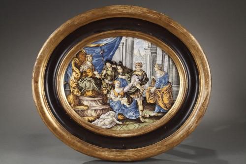 CASTELLI : large faience plaque circa 1740 - 1750 - Porcelain & Faience Style