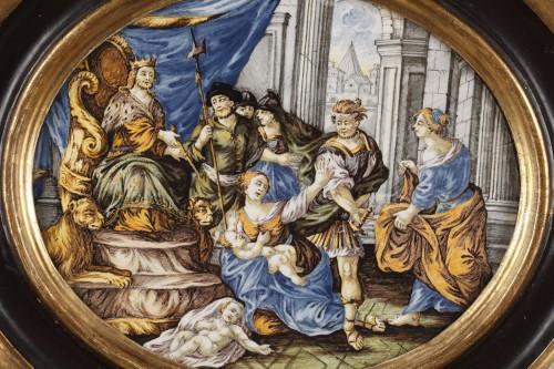 Porcelain & Faience  - CASTELLI : large faience plaque circa 1740 - 1750