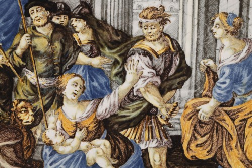 18th century - CASTELLI : large faience plaque circa 1740 - 1750
