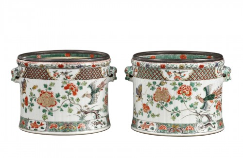 CHINA : Paire of wine coolers Famille verte Kangxi period 1662 - 1722