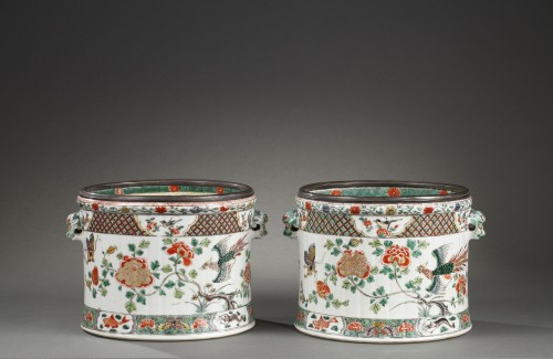 Paire of wine coolers Famille verte Kangxi period 1662 - 1722 - Porcelain & Faience Style