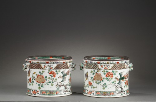 Porcelain & Faience  - Paire of wine coolers Famille verte Kangxi period 1662 - 1722