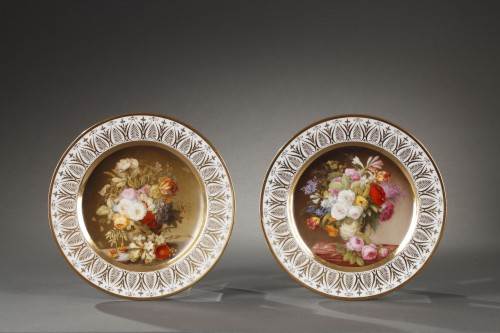 Dihl et Guerhard Paris workshop plates begining of 19 century - Porcelain & Faience Style