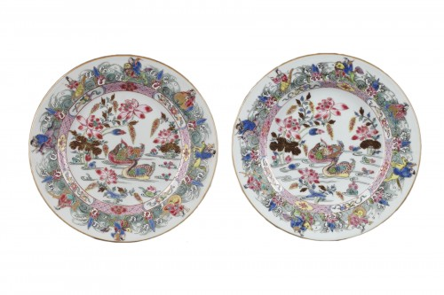 CHINA : Two Famille Rose plates Yongzheng 1723 - 1735
