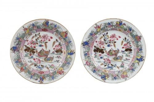 CHINA : Two Famille Rose plates Yongzheng 1723 - 1735