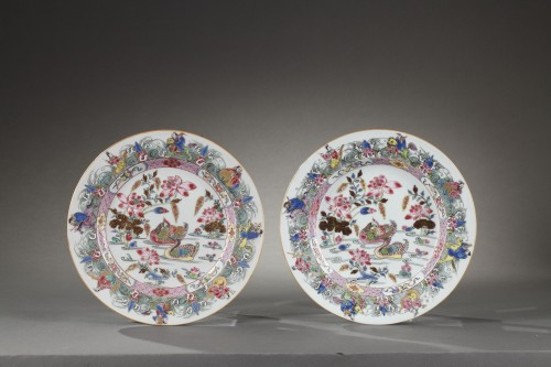 Porcelain & Faience  - CHINA : Two Famille Rose plates Yongzheng 1723 - 1735