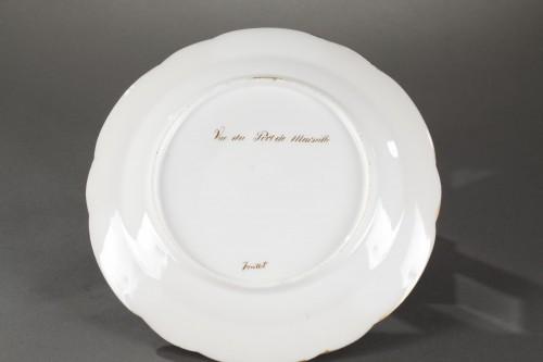 Porcelain & Faience  - Paris porcelain plate depicting Marseille harbour circa 1830