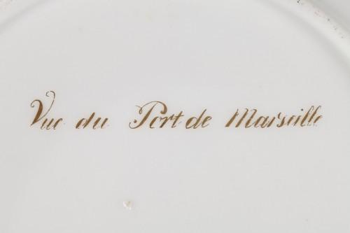 Paris porcelain plate depicting Marseille harbour circa 1830 -