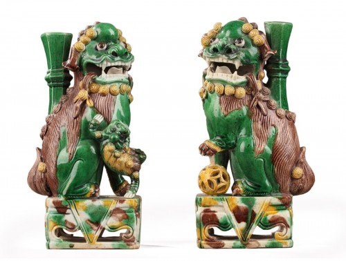 China : Pair of Fo dogs, Kangxi (1662 - 1722)
