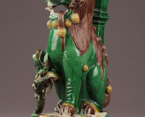 China : Pair of Fo dogs, Kangxi (1662 - 1722) - Porcelain & Faience Style