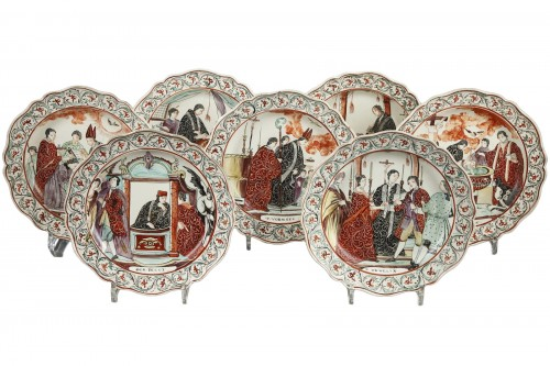 Set of seven plates, Delft End of 18th century