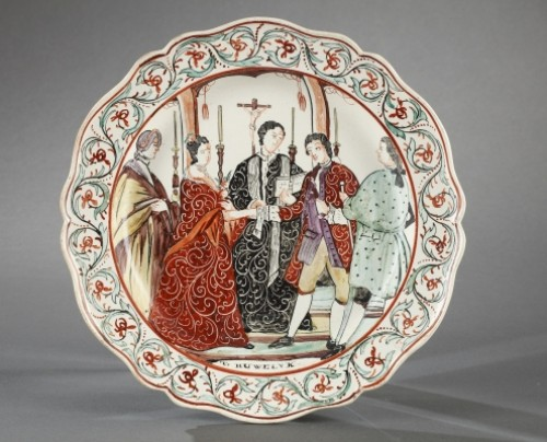 Set of seven plates, Delft End of 18th century - Porcelain & Faience Style