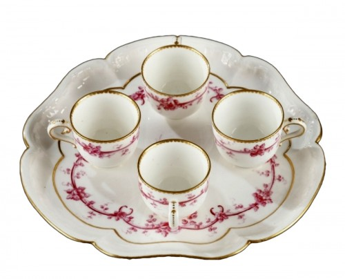 SEVRES : Soft paste tray and four gobelets. 18th century year 1759
