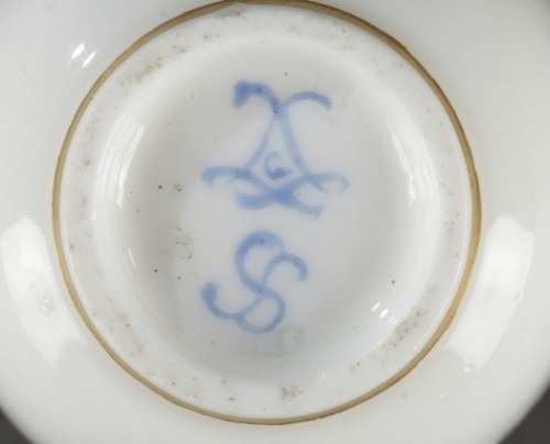 - SEVRES : Soft paste tray and four gobelets. 18th century year 1759