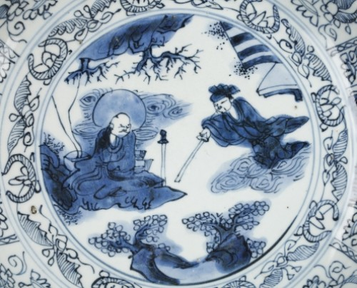 Porcelain & Faience  - Large Kraak bleu and white dish.  China Wanli period 1573 – 1619